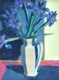 IRISES IN A WHITE JUG by Brian Ballard RUA at Ross's Auctions