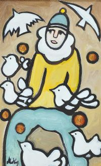 CLOWN WITH DOVES by Markey Robinson at Ross's Auctions
