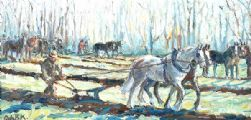 PLOUGHING THE FIELD by Coralie de Burgh Kinahan at Ross's Auctions