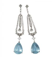 18CT WHITE GOLD DIAMOND AND AQUAMARINE EAR PENDANTS at Ross's Auctions