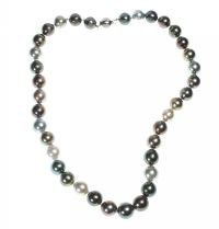 BLACK TAHITIAN PEARL NECKLACE WITH 18CT WHITE GOLD CLASP at Ross's Auctions
