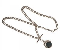 STERLING SILVER CURB CHAIN WITH T-BAR AND SWIVEL FOB SET WITH BLOODSTONE AND CARNELIAN at Ross's Jewellery Auctions