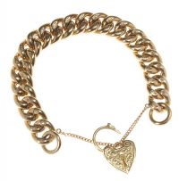 9CT GOLD CURB-LINK BRACELET WITH ENGRAVED HEART-SHAPED PADLOCK CLASP at Ross's Auctions