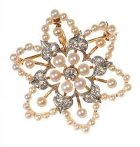 14CT GOLD FLORAL BROOCH/PENDANT SET WITH SEED PEARLS AND DIAMONDS at Ross's Auctions