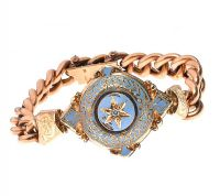 9CT GOLD EDWARDIAN DIAMOND AND ENAMELLED BRACELET at Ross's Auctions