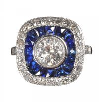18CT WHITE GOLD SAPPHIRE AND DIAMOND TARGET RING IN THE STYLE OF ART DECO at Ross's Auctions