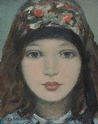 GIRL IN THE COLOURED SCARF by Ken Hamilton at Ross's Auctions