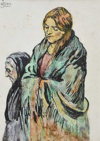 TWO SHAWLIES by William Conor RHA RUA at Ross's Auctions