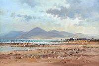 THE MOURNES FROM TYRELLA BEACH by David Long UWS at Ross's Auctions