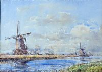 WINDMILLS, HOLLAND 1966 by Alymer E. Armstrong UWS at Ross's Auctions