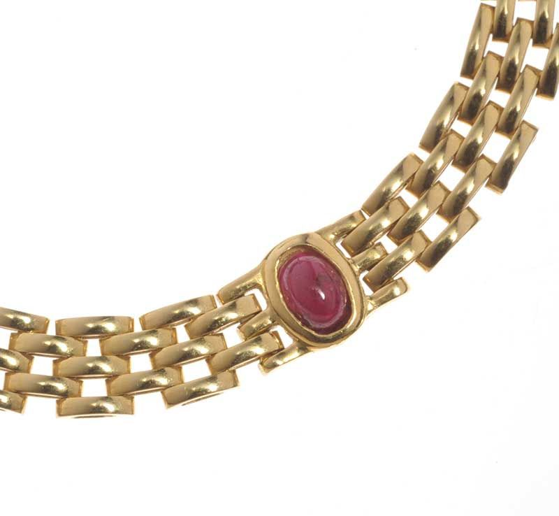 18CT GOLD RUBY-SET MESH NECKLACE AND BRACELET SUITE FROM