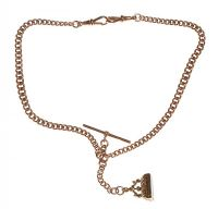 9CT ROSE GOLD ALBERT CHAIN WITH T-BAR AND CARNELIAN-SET 9CT GOLD FOB at Ross's Jewellery Auctions