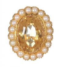 9CT GOLD CITRINE AND PEARL DRESS RING by Citrine at Ross's Auctions