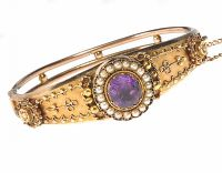 VICTORIAN 15CT GOLD BANGLE SET WITH AMETHYST AND SEED PEARL at Ross's Auctions