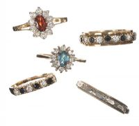 COLLECTION OF FIVE GOLD CRYSTAL-SET RINGS by Cubic Zirconia at Ross's Auctions
