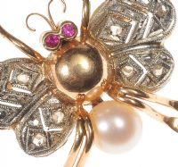 18CT GOLD INSECT BROOCH SET WITH RUBY, CULTURED PEARL AND DIAMOND at Ross's Auctions