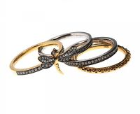 SET OF FOUR 18CT GOLD ANNOUSKA STACKING RINGS WITH BOX at Ross's Auctions