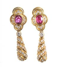 18CT GOLD DIAMOND AND RUBY DROP EARRINGS at Ross's Auctions