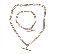 9CT ROSE GOLD ALBERT-STYLE NECKLACE AND BRACELET SET at Ross's Auctions