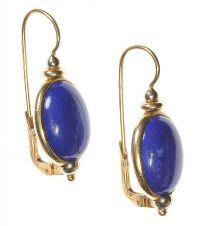 18CT GOLD AND LAPIS LAZULI DROP EARRINGS at Ross's Jewellery Auctions