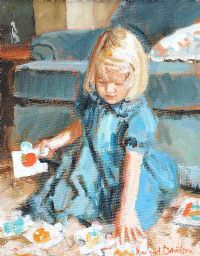 LITTLE GIRL IN A BLUE DRESS by Rowland Davidson at Ross's Auctions