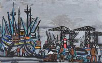 BELFAST DOCKS by Markey Robinson at Ross's Auctions