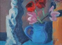 TULIPS IN A BLUE JUG by Brian Ballard RUA at Ross's Auctions