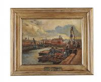 BELFAST DOCKS by William Conor RHA RUA at Ross's Auctions