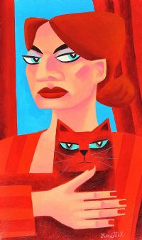GIRL WITH RED CAT by Graham Knuttel at Ross's Auctions