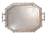 IRISH SILVER TWO HANDLED SERVING TRAY at Ross's Auctions