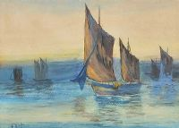 SAILING AT DUSK by F. Winter at Ross's Auctions