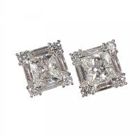 18CT WHITE GOLD AND DIAMOND CLUSTER EARRINGS at Ross's Auctions