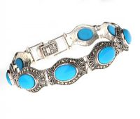 STERLING SILVER BRACELET SET WITH TURQUOISE AND MARCASITE BY ARABIAN DESIGNER 'FEYENDRA' at Ross's Jewellery Auctions