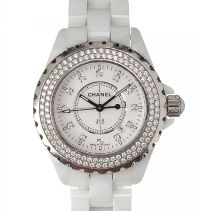 CHANEL 'J12' WHITE CERAMIC AND DIAMOND LADY'S WRIST WATCH by Wrist Watches at Ross's Auctions