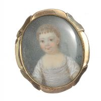 GEORGIAN MINIATURE PORTRAIT ON A GOLD-PLATED BROOCH FRAME c.1800 at Ross's Auctions