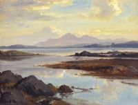 THE MOURNES FROM PORTAFERRY by Frank McKelvey RHA RUA at Ross's Auctions