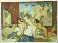 THREE FEMALE NUDES IN THE ARTIST'S STUDIO by Sir William Russell Flint RA at Ross's Auctions