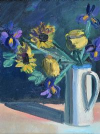 SUNFLOWERS IN A WHITE JUG by Brian Ballard RUA at Ross's Auctions
