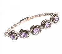 STERLING SILVER AMETHYST AND MARCASITE BRACELET at Ross's Jewellery Auctions