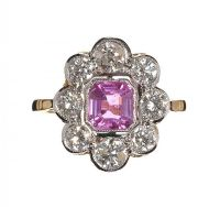 18CT GOLD PINK SAPPHIRE AND DIAMOND CLUSTER RING at Ross's Auctions