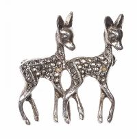 STERLING SILVER AND MARCASITE DEER BROOCH at Ross's Jewellery Auctions