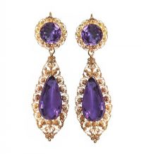 9CT GOLD AND AMETHYST VICTORIAN EARRINGS AND BOX by Amethyst at Ross's Auctions