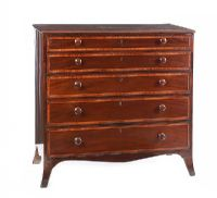 GEORGIAN CROSSBANDED MAHOGANY CHEST OF DRAWERS at Ross's Auctions