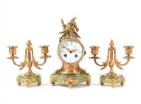 THREE PIECE CLOCK SET at Ross's Auctions