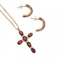 9CT GOLD GARNET AND DIAMOND CROSS AND CHAIN at Ross's Jewellery Auctions