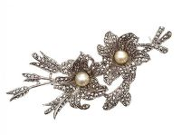 SILVER SPRAY BROOCH SET WITH MARCASITE AND CULTURED PEARL at Ross's Jewellery Auctions