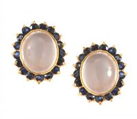 18CT GOLD MOONSTONE AND SAPPHIRE EARRINGS at Ross's Jewellery Auctions