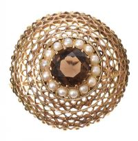 9CT GOLD SMOKEY QUARTZ BROOCH at Ross's Jewellery Auctions