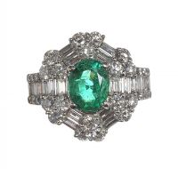 18CT WHITE GOLD EMERALD AND DIAMOND CLUSTER RING by Emerald at Ross's Auctions