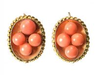 GOLD-TONE DROP EARRINGS SET WITH CORAL at Ross's Jewellery Auctions